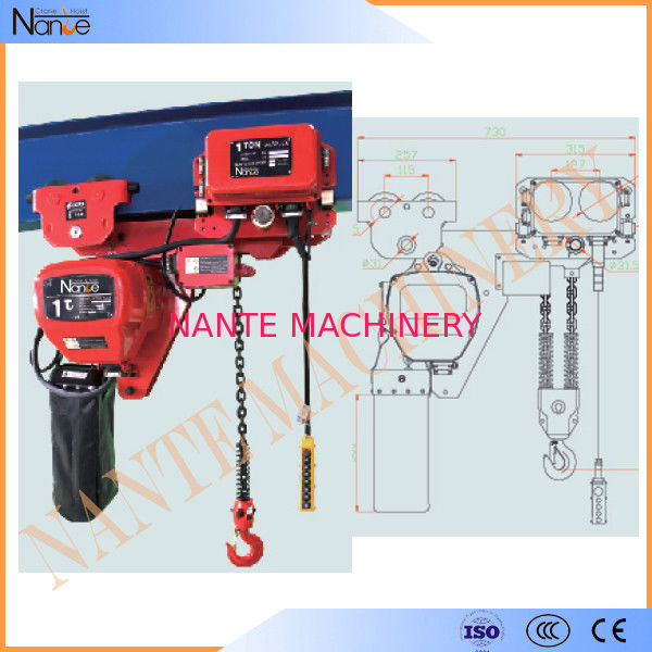 250kg - 50ton Manual Chain Hoists , Construction Wire Rope Electric Hoist